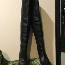 Guess Rumela Black Leather Over Knee Tall Hall Heel Boots 7 Photo