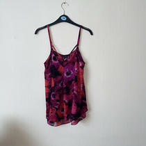 Guess S Small Uk 6 Purple Multi Colour Floral Patterned Double Layer Cami Top Photo