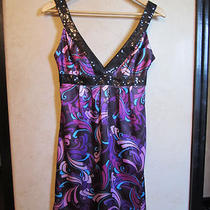 Guess Satin Dress Sz 3 Purple Multi With Sequin Trim Photo