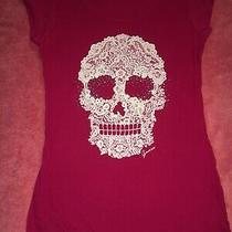 Guess Sexy Fitted Laceskull Pink T-Shirt Top Cap Sleeve M Medium Photo