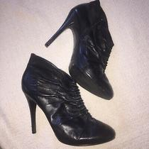 Guess Sexy Stiletto Black Leather Booties Size 8 Great Condition Photo