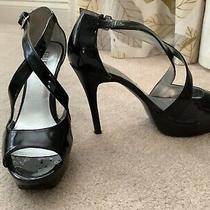Guess Sharlene High Heel Platform Pumps Sandals Black Patent Size 7.5 Photo