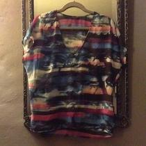 Guess Sheer Graphic Blouse Size Medium Photo