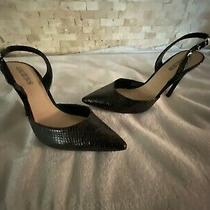 Guess Shoes Size 8m Slingback Black Classic 4in Heel Leather Womens Photo