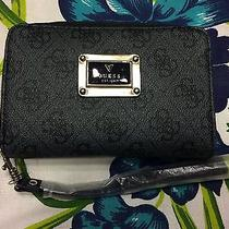 Guess Signature Black Iphone Cell Holder Wallet Wristlet Carry All Nwt Photo