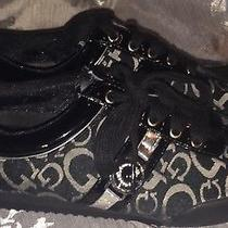 Guess Signature Monogram Canvas Patent Sneakers Shoes Athletic Womens Black 5.5 Photo