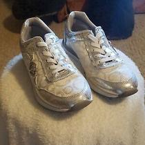 Guess Silver Fashion Sneakers Size 7.5 With Snake Print and Metallic  Photo