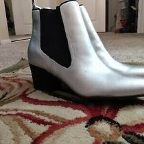 Guess Silver Stanford Pointed Toe Chelsea Boots Women's Size 8.5 Photo