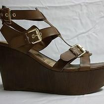Guess Size 10 M Ganelle Brown Open Toe Wedges New Womens Shoes Nwob Photo
