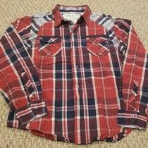 Guess Size 20 Long Sleeve Button Down Collared Shirt Red/white/blue Photo