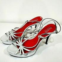Guess Size 8 1/2 M Silver Ankle Leather Strap Open Toe High Heel Sandal  Photo