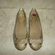Guess Size 8.5 Beige/gold Canvas Bow Glitter Flats Logo Print Womens Shoes Photo