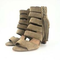 Guess Size 8 Olive Green Strappy Ankle Zip Up Booties - Block 4