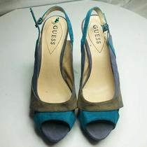 Guess Size 8m Suede Cork Platform Heels Multi-Color Slingback Pumps Photo