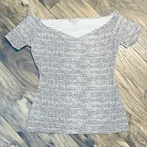 Guess Size Medium M Top Shirt Black White Off the Shoulder Stripe Stretch Summer Photo