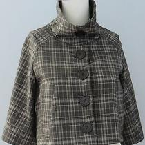 Guess Size Xs Gray 3/4 Raglan Sleeves Plaid 3-Button Collared Fully Lined Blazer Photo