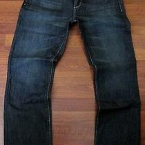 Guess Slim Straight Leg Jeans Men's Size 32 X 34 Distressed Blue Dark Wash New Photo