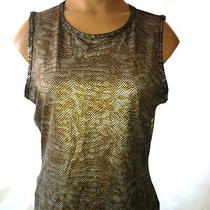 Guess Snake Print Top Size Medium Stretch Blouse Excellent Metallic Photo