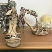 Guess Snakeskin Ankle Strap Metallic Stiletto Heel Sandals Tan Women's Size 6.5 Photo