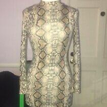 Guess  Spandex Dress Turtle Neck Snake Skin Print S/m Photo