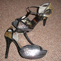 Guess Sparkle Silver Gold and Black Platform Heels Photo