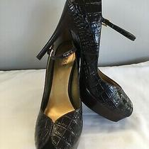 Guess Stiletto Croc Embossed Peep Toe Sandals by Marciano Brown Leather 8.5m Photo