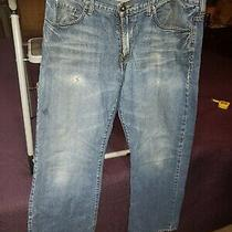 Guess Straight Leg Jeans Men's Size 38 X 32 Sexy Distressed Medium Wash New Photo
