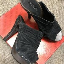 Guess Suede Black Open Toe Studded Wood Platform Heels Pumps Size 9 Victorian Photo