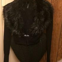 Guess Sweater in Black With Faux Fur Extra Small Photo
