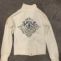 Guess Sweater Jacket White Size Large Zipper Womens Juniors Teen Photo