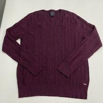 Guess Sweater Mens Xxl Maroon Knit v-Neck Long Sleeve Casual Photo