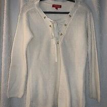 Guess Sweater Peasant Boho Lace Up Ivory Size S Photo