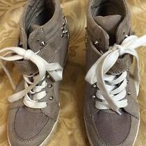Guess Sz 6 Hidden Wedge Tennis Shoe Lace Up Studded Beige Kicks High Heel Bootie Photo