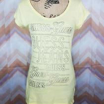 Guess Sz L Yellow Logo Rhinestones Embellished Scoop Neck Tee Shirt Photo