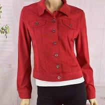 Guess  (Sz m) Women's Guess Pigment-Dyed Denim Cropped Jacket Chili Red Spandex  Photo