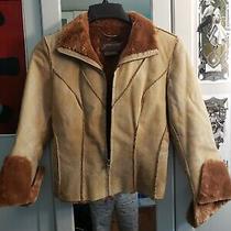 Guess Tan Fur Trim Leather Jacket Photo