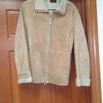 Guess Tan Suede Leather Women's Jacket With Faux Fleece Lining Sz S Photo
