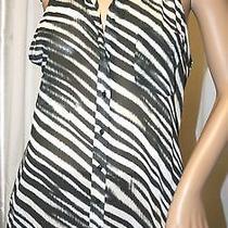 Guess Tank Top Sleeveless Shirt Black Button Up Sheer Silky Zebra Blouse S Photo