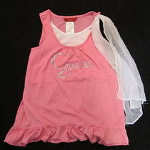 Guess Tank Top With Rhinestones & Silky Bow  Pre Owned  Very Good Condition Photo
