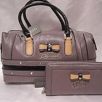 Guess Taupe Black Kade Bow Box Satchel Handbag & Zip Around Lg Wallet Set Nwt Photo