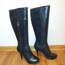 Guess Teddie Black Leather Tall High Heel Platform Boots  - Rare Size 11 M Photo