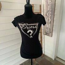 Guess Tee Shirt Top Black Silver Size Small Photo