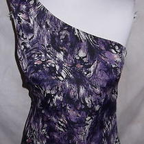 Guess Top Medium One Shoulder Purple Abstract Floral  Photo