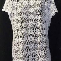 Guess Tunic Top Size Medium Womens New White See Through Lace 6229 Photo