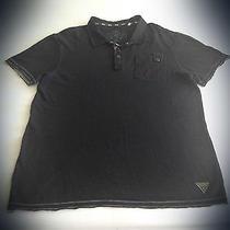 Guess Usa Black Frayed Mens Luxury Polo Sz. Xl Photo