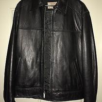 Guess Usa Heavy Textured Thick Black Leather Insulated Jacket - L Photo