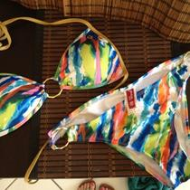 Guess Usa Ladies Bikini Swimsuit Colorful Design Plus Gold Rings Padded Top Photo