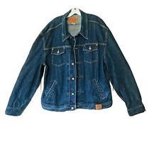 Guess Usa Mens Size Xxxxl Blue Denim Trucker Jean Jacket Button Dark Wash Photo