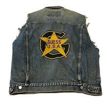 Guess Usa Xl Classic Style Denim Trucker Jean Jacket Custom Vest Star Rare 80s Photo