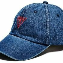 Guess Vintage Blue Jeans Snapback Hat Triangle Logo Dad Cap Baseball Distressed  Photo